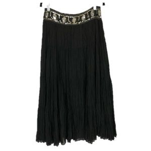 Nygard Collection Sequin Beaded Boho Crinkle Skirt